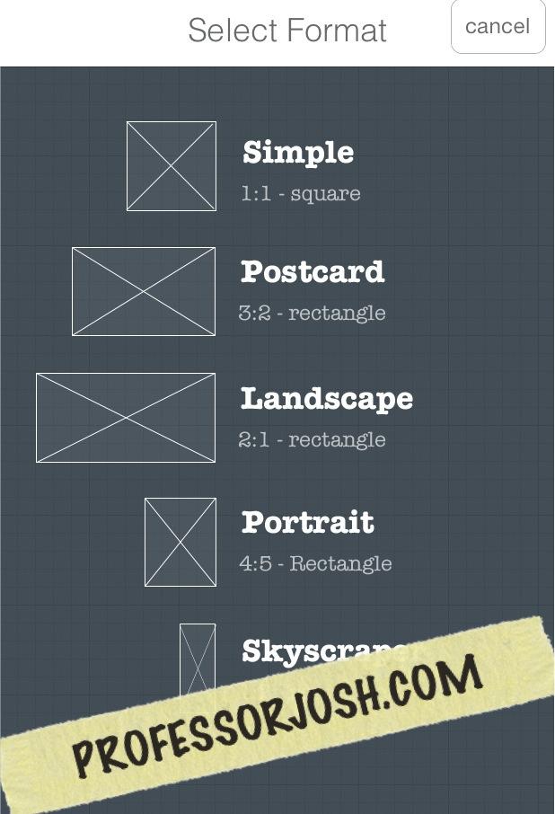 Frametastic Frame size options app of the week - PROFESSORJOSH.COM